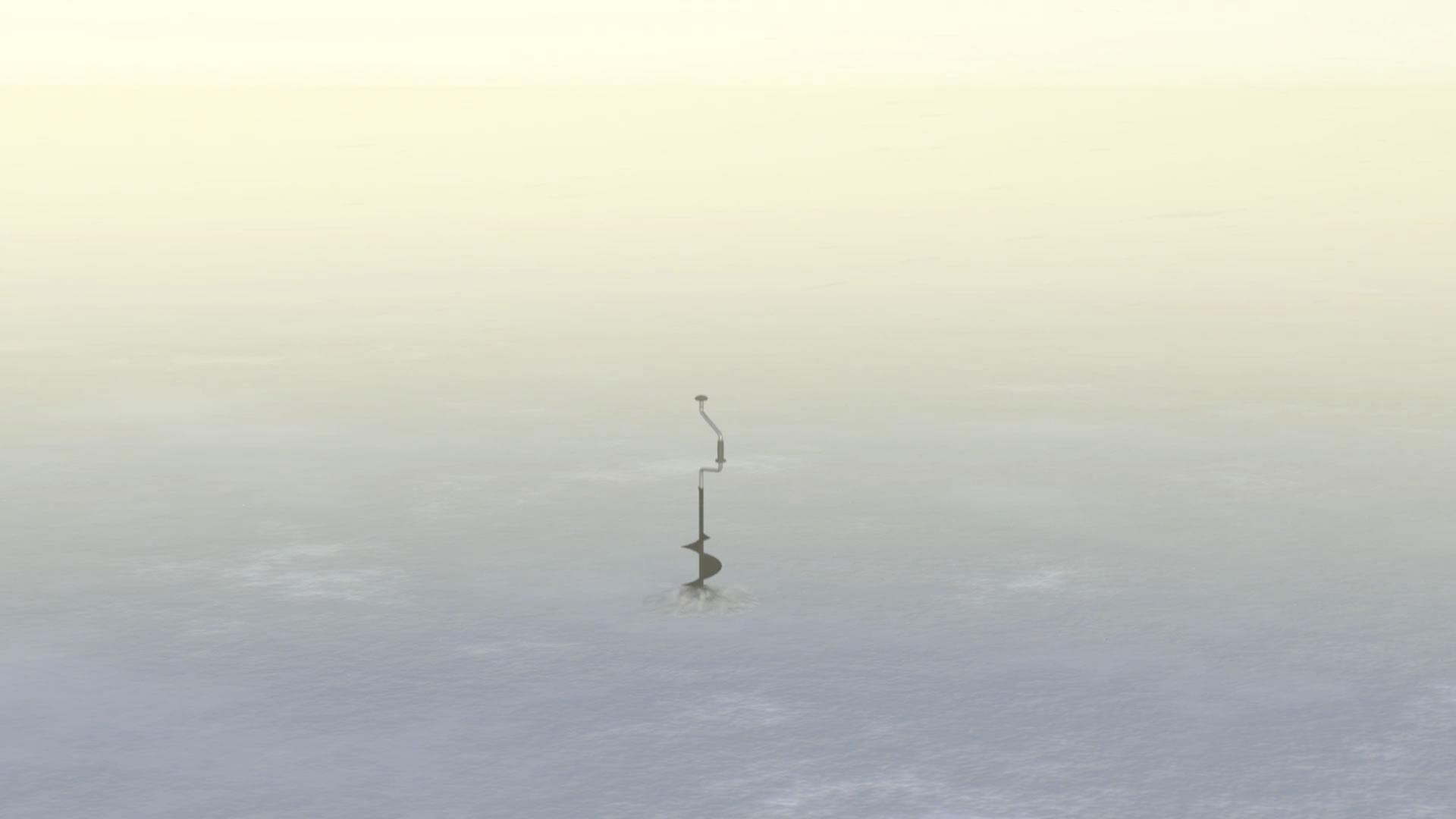 Drilling ice fishing holes.